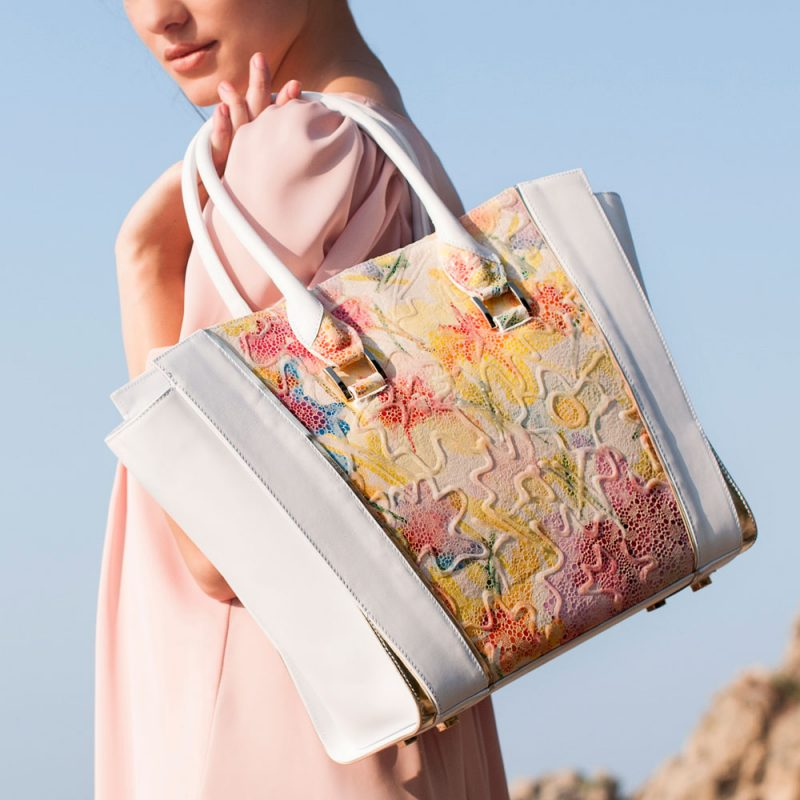 13006-Thera-shopper-tote-handbag-flower-print-hand-painted-leather-model