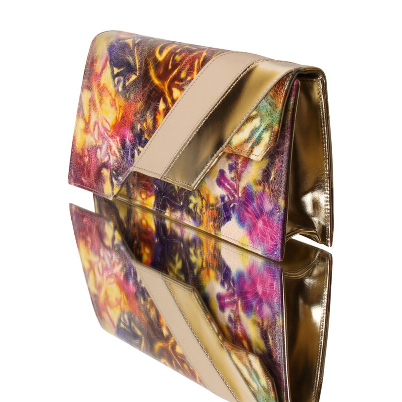 13024-26-Abstract-flower-print-leather-beige napa-leather-clutch-joaquim-ferrer-left
