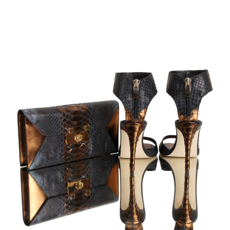 12010-clutch-kionia-genuine-python-leather-hand painted python skin - joaquim-ferrer-matching shoes