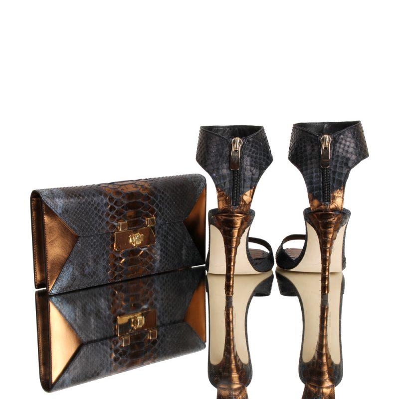 12010-clutch-kionia-genuine-python-leather-hand painted python skin - joaquim-ferrer-matching shoes