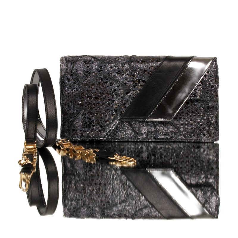 14006-10-cassandra-clutch-black-leather-hand painted genuine leather-joaquim-ferrer-front