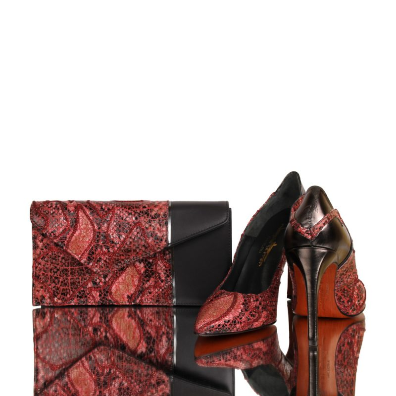 14006 canala - luxury red clutch - hand painted genuine leather-exclusive design - joaquim-ferrer-matching shoes