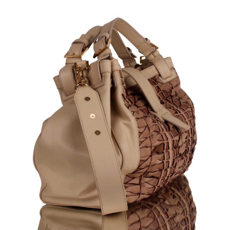 Isabella. Luxury handbraided bag in beige color - right side