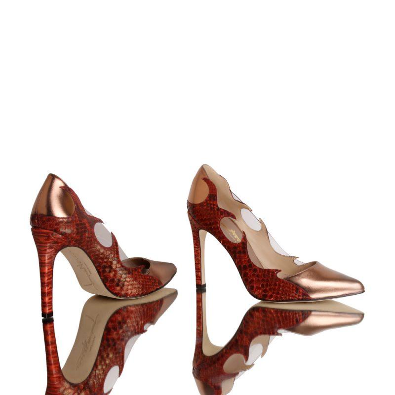 Marea-red-genuine-python-shoes-joaquim-ferrer-front