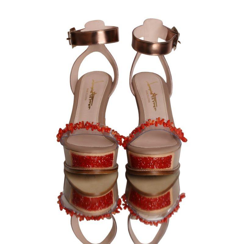 Marina - wedges - sandals -corals - joaquim ferrer - front