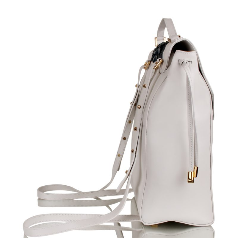 chic backpack - handbraided leather - white - joaquim ferrer - right