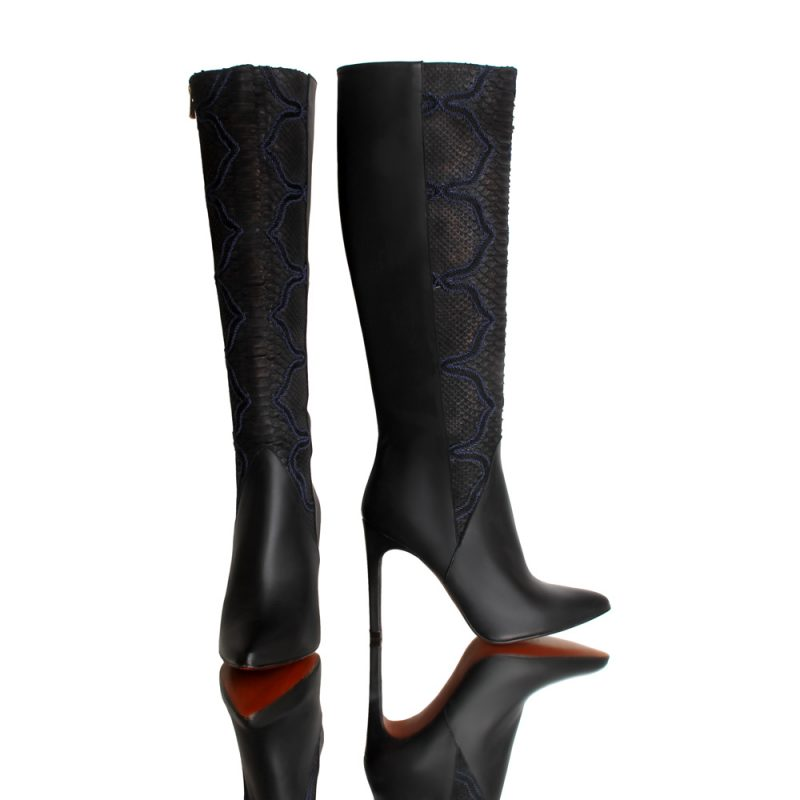simone-high-heel-black-boots-python-leather-front