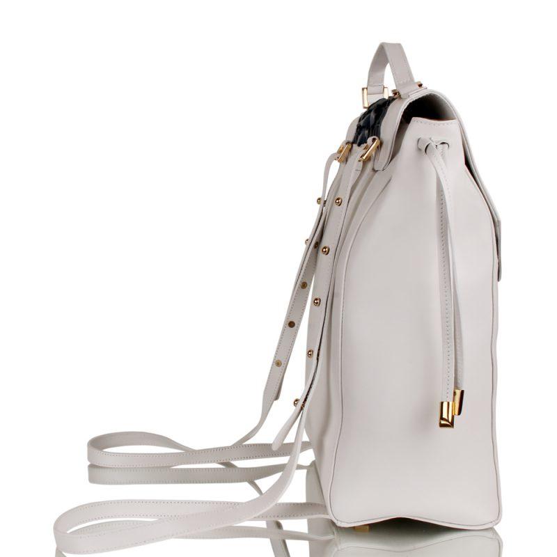 chic backpack - handbraided leather - white - joaquim ferrer - right